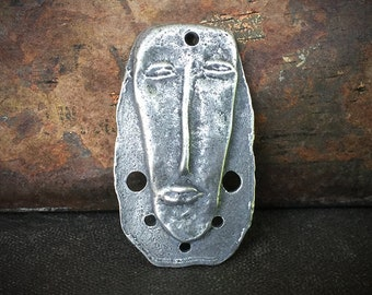 Connector Pendant, Face, Primitive Style, Handcrafted, Handmade, Rustic Jewelry, Hand Cast, Pewter, Artisan -  No. 91PD