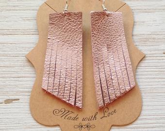 Metallic Pink Leather Tassel Earrings, Leather Earrings, Fringe Earrings, Statement Earrings, Boho