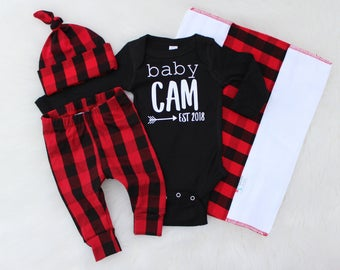 Personalized Coming Home Outfit for Baby Boy - Buffalo plaid baby - Lumberjack baby outfit - Brother Coming Home Outfit - Plaid Hospital