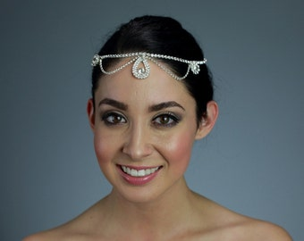 Rhinestone Head Piece with Expandable Chain and Clasp on the Back - Ships in 3-7 Business Days
