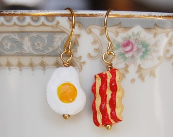 Bacon and Eggs Earrings , Food Earrings , Mismatched Earrings , Ceramic Bead Earrings