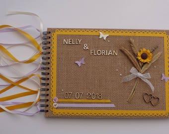Livre d'or personnalisable pour mariage/anniversaire, thème champêtre/nature blé et tournesol