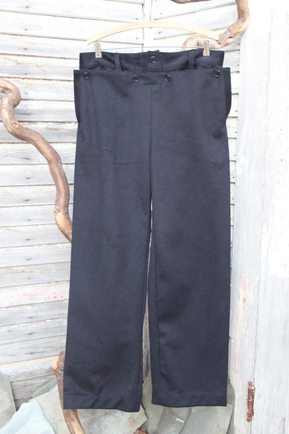 Vintage 1970s European Navy Sailor Pants Trousers / *Deadstock* / 35