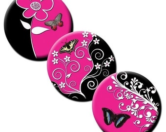 Butterflies on Pink and Black - 1 inch circles - Digital download