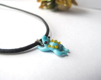 Turquoise Frog Pendant with Yellow Polka Dots