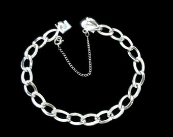 Vintage A.J.C Co Sterling 925 Charm Bracelet with Safety Chain