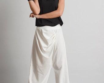NEW White Asymmetric Pants/Loose Long Trousers/Extravagant Maxi Pants/Drop Crotch Pants/Loose White Pants/Long Maxi Pants/Casual Pants