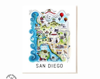 San Diego City Map Art Print - Watercolor