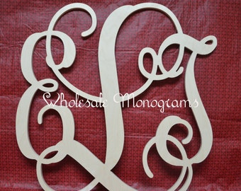 "16"" inch Wooden Monogram Letters- UNPAINTED- Wedding Decor- Home Decor"
