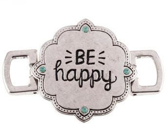 Quote Connector Pendant Word Pendant Link BE HAPPY Pendant Antiqued Silver Large Band
