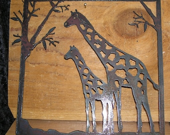 Giraffes-Metal Art-Wall Decor