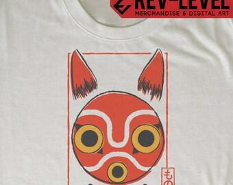 Princess Mononoke San Mask Card Tee - Mononoke Hime もののけ姫 Ghibli T-Shirt by Rev-Level