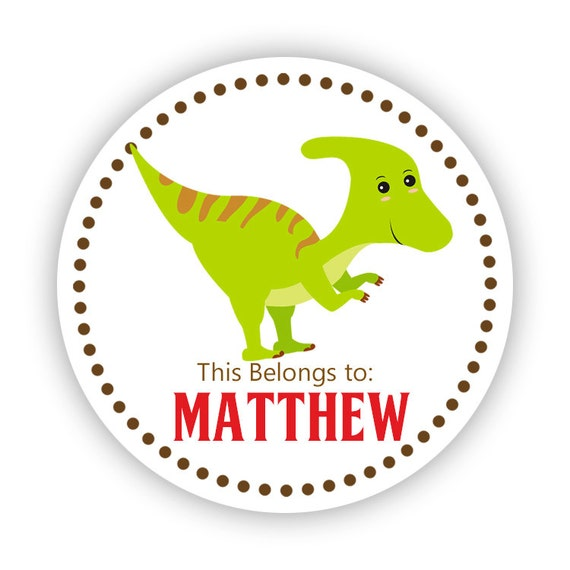 Personalized name stickers brown red reptile dino lime