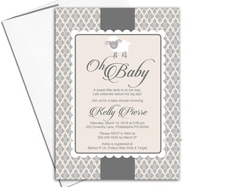 DIY baby shower invites | sheep baby shower invitations neutral | gray beige | printable or printed - WLP00773