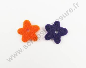 Felt - Flower purple ORANGE - 14 pcs x