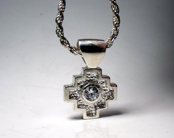 Native American Design Pendant in Sterling Silver with 1 carat round CZ RF055