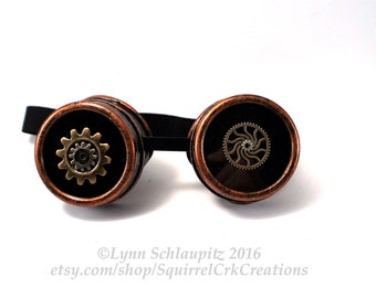 Steampunk Goggles with metal gears!  Copper goggles, Steampunk accessory, steampunk costume, cosplay.  Hand decorated.