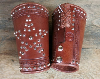VINTAGE WESTERN Leather Arm Cuffs, Stars & Studs, Oldtyme Dressers, SASS
