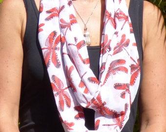 Chiffon scarf, printed scarf, infinity scarf, summer scarf, lightweight scarf, unique design, dragonfly scarf, red, black, luxurious