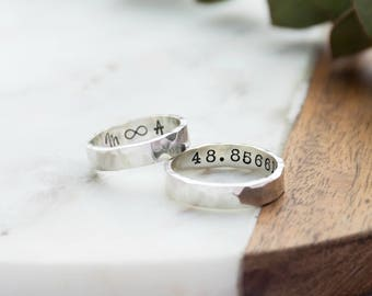 Women's Silver Hammered Ring | Silver Handstamped Personalised Message Ring | Handmade Secret Message Sterling Silver Ring | Gifts for her