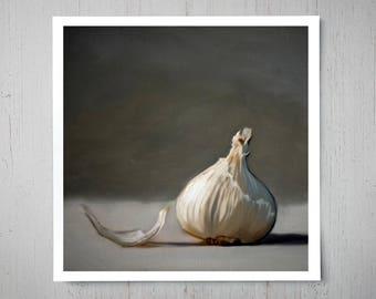 Garlic - Fine Art Oil Painting Archival Giclee Print Decor by Artist Lauren Pretorius