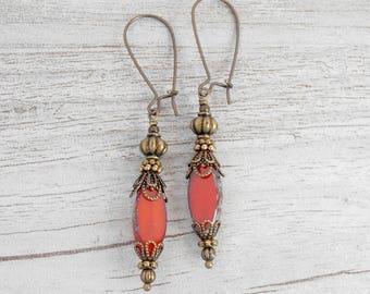 Long Thin Orange Dangle Earrings, Rustic Bead Dangles, Czech Glass Earrings, Boho Jewelry, Beaded Bronze Earrings, Orange Earings