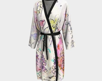 Floral Kimono Robe Bridal Robe Dressing Gown Robes Longues Chiffon Robe Peignoir Romantic Loungewear Women Bathrobe Lingerie Beach Wrap Art