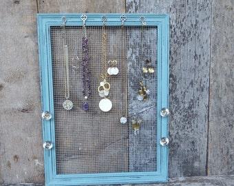 Jewelry Frame - Distressed Teal Blue Frame - Vintage Style Glass Knobs - Key Hooks - Jewelry Organizer