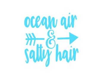 ocean air and salty hair // summer sticker / summer decal / summer quote decal / summer yeti decal / summer tumbler decal / ocean car decal