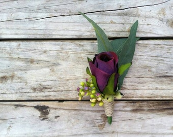 Purple Boutonniere featuring Silk Roses and Eucalyptus Gumnuts. Natural Rustic Buttonhole Groom Groomsmen