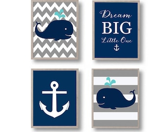 Nursery decor, Whale nursery art print, Printable Nursery Wall Art Gray Navy nautical Wall decor, PRINTABLES, Dream big little one