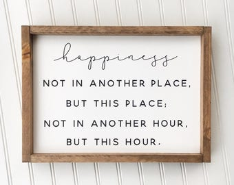 Walt Whitman Happiness Framed Sign, Inspirational Quote Home Decor, Custom Rustic Wood Sign Decor, Farmhouse Style Sign