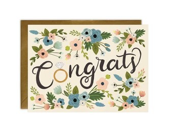 Congrats Ring & Flowers - Engagement Card