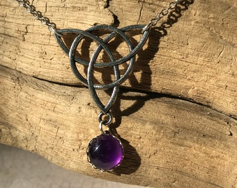 Amethyst & Silver Celtic Knot Necklace
