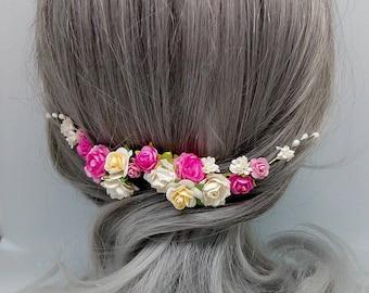 Pink Flower Hair Vine