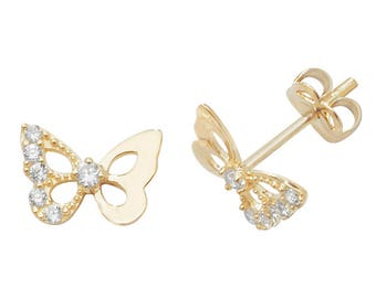 9ct Gold Pretty Butterfly Stud Earrings With Cz Stones