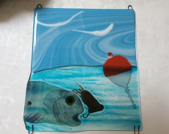 """Fly fishing Fused Glass Wall Hanging - 12"""" x 10.5 """""""