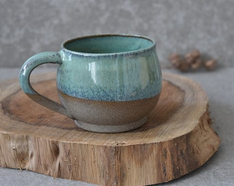 READY TO SHIP -Rustic Ceramic mug set, Large Green pottery mug set, Ceramic Coffee mug, Stoneware Coffee lovers gift, Pottery Tea / Soup Mug