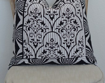 19X19 Reality Check Collection Black and White pillow ticking pillow cover
