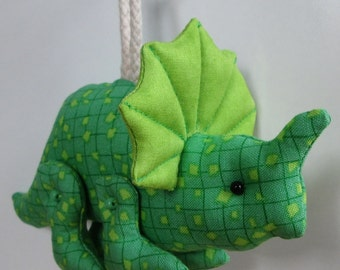 Fabric Movable/Posable Triceratops Dinosaur keychain, ornament, accessory