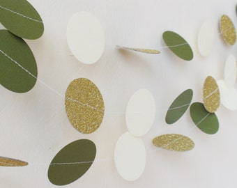 Greenery Gold Wedding Garland , Olive Ivory Gold glitter circles paper garland , Green Wedding decor , Nursery decor , Baby shower decor