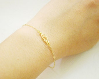 Romantic heart gold tone bracelet, bridemaid gift, for her, teenage girls, daughter, bridal gifts, wedding
