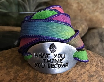 What you think you become silk wrap bracelet, buddha quote, yoga, yoga jewelry, motivational quotes, words of wisdom, graduation gifts