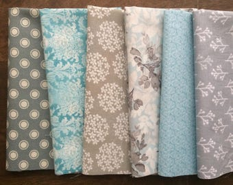 Blue, White, Gray Everyday Cloth Napkins, Set of 12 assorted