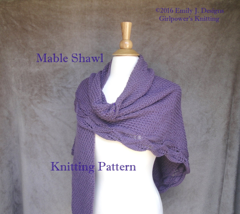Wrap Shawl Knitting Pattern, Moss Stitch Leaf Lace Edge, Elegant ...