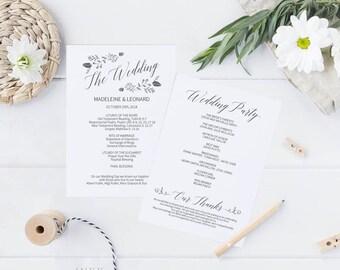 Printable Wedding Program Wedding Program Template Rustic - Editable wedding program templates