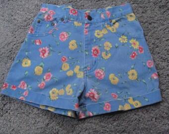Girls Vintage 90s Gitano Floral Denim Jean Shorts High Waist