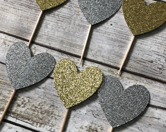 Silver and Gold Glitter Heart Cupcake Toppers