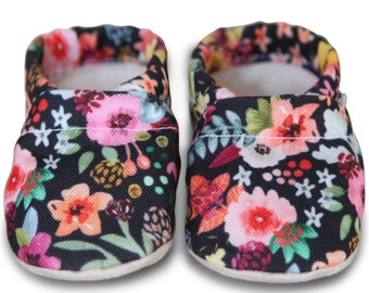 ORGANIC baby shoes, black floral baby shoes, spring flower baby shoes, organic baby shoes