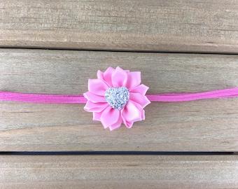 Pink Heart Headband, small pink baby headband, Sparkling Heart headband, Baby Girl Headband, Baby Headband, Newborn Headband, newborn photos